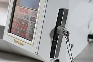 Baby Lock machine with USB upgrade and USB stick plugged in
